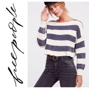 Free People Just My Stripe Pullover Blue White Top